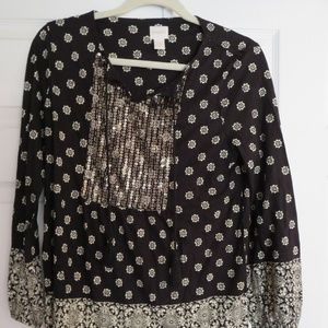 Chicos Black and Gold 3/4 Sleeve Blouse